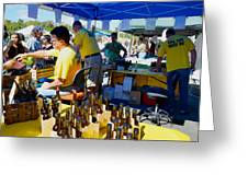 A Vendor At The Garlic Fest Offers Garlic Vinegar And Olive Oil For Sale Greeting Card