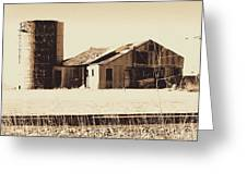 A Very Old Barn And Silo Greeting Card