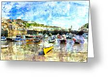 Porthleven - A View Across The Harbour Greeting Card