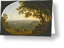 A View Across The Alban Hills With A Hilltop On The Right And The Sea In The Far Distance Greeting Card