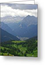 a view from 2200 meter altitude in the dolomite mountains of Italy Greeting Card