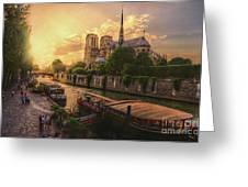A View From Bridge Pont De L Archeveche, Archbishop Bridge, Infront Of Notre Dame De Paris Cathedr Greeting Card