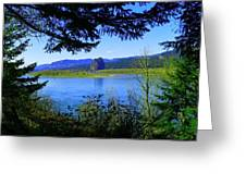 A View Of Beacon Rock Greeting Card