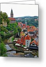 A View Of Cesky Krumlov And Castle In The Czech Republic Greeting Card