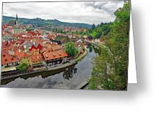 A View Of Cesky Krumlov And The Vltava River In The Czech Republic Greeting Card