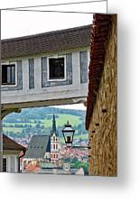 A View Of Cesky Krumlov In The Czech Republic Greeting Card
