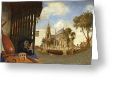 A View Of Delft With A Musical Instrument Seller's Stall Greeting Card
