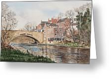 A View Of Framwelgate Bridge Greeting Card
