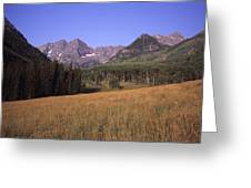 A View Of The Maroon Bells Mountains Greeting Card
