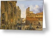 A View Of The Piazza Della Signoria Greeting Card