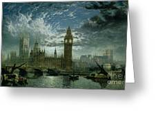 A View Of Westminster Abbey And The Houses Of Parliament Greeting Card