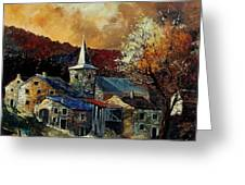A Village In Autumn Greeting Card