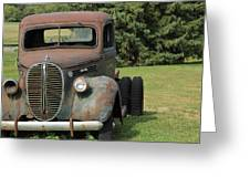 A Vintage Truck On A Yard Greeting Card