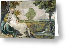 A Virgin With A Unicorn Greeting Card