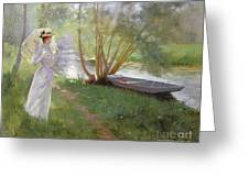 A Walk By The River Greeting Card