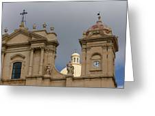 A Well Placed Ray Of Sunshine - Noto Cathedral Saint Nicholas Of Myra Against A Cloudy Sky Greeting Card