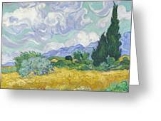 A Wheat Field, With Cypresses Greeting Card