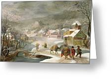 A Winter Landscape With Travellers On A Path Greeting Card