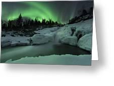 A Wintery Waterfall And Aurora Borealis Greeting Card