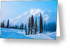 A Wintry Day On Mt Rainier Greeting Card