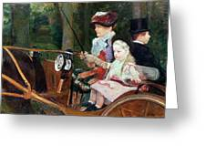 A Woman And Child In The Driving Seat Greeting Card by Mary Stevenson Cassatt