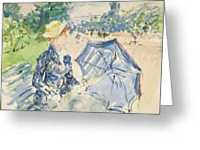 A Woman Seated At A Bench On The Avenue Du Bois Greeting Card