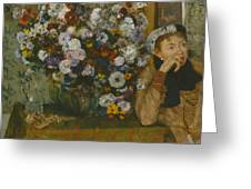 A Woman Seated Beside A Vase Of Flowers Greeting Card