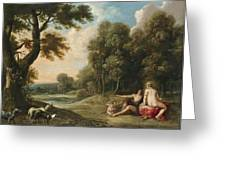 A Wooded Landscape With Venus Adonis And Cupid Greeting Card