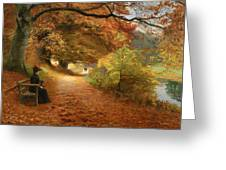 A Wooded Path In Autumn Greeting Card