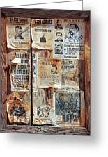 A Wooden Frame Full Of Wanted Posters Greeting Card