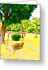A Wooden Swing Under The Tree Greeting Card