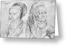 A Young Girl Of Cologne And Dbcrer Wife 1520 Greeting Card