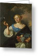 A Young Woman With A Parrot, Ary De Vois, 1660 - 1680 Greeting Card