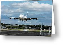 A380 Airbus Plane Landing Greeting Card