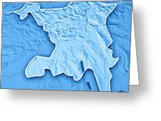 Aargau Canton Switzerland 3d Render Topographic Map Blue Border Greeting Card