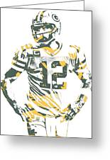 Aaron Rodgers Green Bay Packers Pixel Art 20 Greeting Card