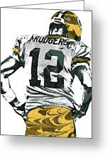 Aaron Rodgers Green Bay Packers Pixel Art 6 Greeting Card