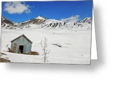 Abandon Building Alaskan Mountains Greeting Card