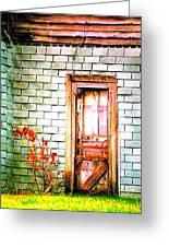 Abandonded Farm Door Greeting Card