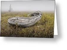 Abandoned Boat In The Grass On A Foggy Morning Greeting Card