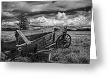 Abandoned Broken Down Frontier Wagon In Black And White Greeting Card