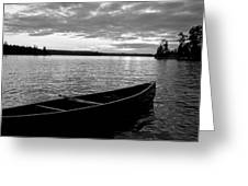 Abandoned Canoe Floating On Water Greeting Card