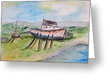 Abandoned Fishing Boat Greeting Card by Clyde J Kell