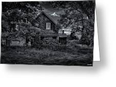 Abandoned Home In Lubec Maine Bw Version Greeting Card