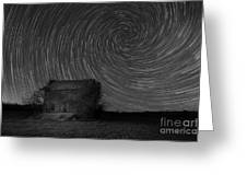 Abandoned House Spiral Star Trail Bw  Greeting Card