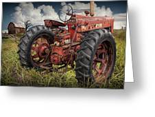 Abandoned Old Farmall Tractor In A Grassy Field Greeting Card