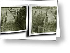 Abandoned Pier - Gently Cross Your Eyes And Focus On The Middle Image Greeting Card
