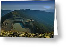 Abandoned Quarry With Lake Sea And Genoa Panorama Greeting Card
