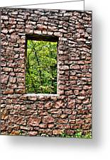 Abandoned Stone Wall With Window Greeting Card