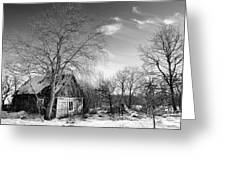 Abandoned Wooden Shack In Winter Greeting Card